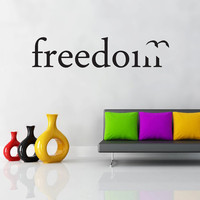 "Wall Decal Quote Vinyl Sticker Home Decor Modern Art Mural "" Freedom "" 15.75'' x 70.9"""