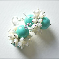 Turquoise earrings beaded turquoise earrings  by oo0JJOriginals0oo