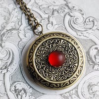 Round locket necklace - antique silver - blue glass cabochon - victorian gothic jewelry