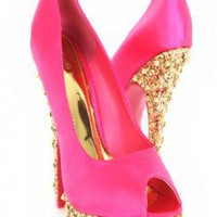 Fuchsia Peep Toe Satin Glitter Pyramid Studded Platform Heels