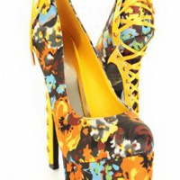 Yellow Multi Floral Print Satin Lace Up Platform Heels
