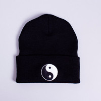 Black Yin Yang Beanie by TwiceLux on Etsy