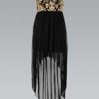 Black Chiffon Strapless Asymmetric Dress with Baroque Print