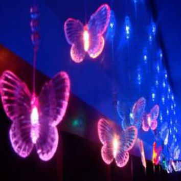 Fantastic AC220V 3Mx1.65M 60 Head Seven Butterfly Led Light String For Home Decoration CIS-84043 (Color)