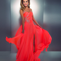 Mac Duggal Prom 2013- Neon Coral Gown With Embellishments - Unique Vintage - Cocktail, Pinup, Holiday &amp; Prom Dresses.
