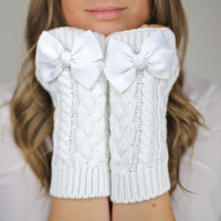 fingerless mittens, fingerless knit gloves with bow, white knit gloves, OTHER COLORS, bow gloves, knit bow gloves