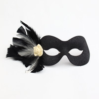 Cream & Black Smalll Feather Rose Masquerade Eye Mask