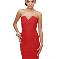 Sassy Red Dress - Strapless Dress - $30.00