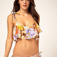 Amore and Sorvete | Amore &amp; Sorvete Coloured Fantasy Print Bandeau Flutter Top Bikini Set at ASOS