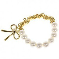 Fashionable Elastic Pearl  Bracelet Hand Chain Wrist Ornament with Bowknot Decor for Female - White China Wholesale - Everbuying.com
