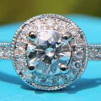HALO Round Diamond Engagement Ring 67 cttw 1/2 by BeautifulPetra
