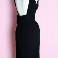 1950's Jay Herbert Low Back Bow Dress 1950's 60's Little Black Designer Dress :