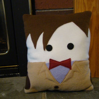 Doctor Who inspired plush pillow,  Matt Smith, 11th Dr decorative pillow