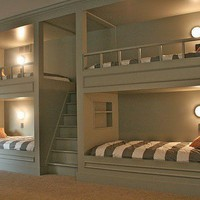 Home Idea / Built in bunks with stairs to top bunks. Overnight guests welcome. Cool idea