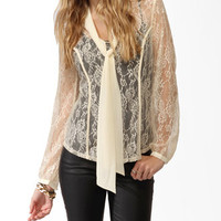 Collared Contrast Lace Top | FOREVER 21 - 2027705640
