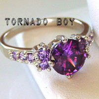 Size 8 New Lab Created Amethyst 3CT 10KT White Gold Filled Ring from TORNADO'S TREASURES