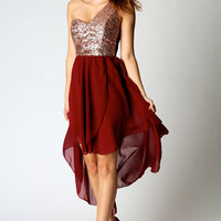 Ria Sequin One Shoulder Dip Hem Dress