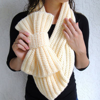 Made to Order--Crocheted Bow Infinity Scarf, Chunky Neck Warmer / Cowl in Buttercream Perfect Holiday Gift