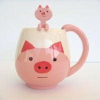 Japanese Cute Pig Coffee Mug cup with little hanging spoon