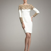 Marchesa Couture - Embroidered-Yoke Dress - Bergdorf Goodman