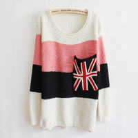 Lovely White Pink Striped Flag Large Pocket Sweater