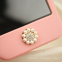 1PC Bling Crystal Pearl Flower Apple iPhone by StudioOrangeStar