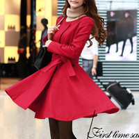 Women Red  Wool Cashmere winter coat Hood cloak Hoodie cape Hooded Cape/clothing /jacket/dress coat