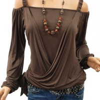 Patty Women Stylish Off Shoulder Cross Tied Long Sleeve Top (Brown Small)