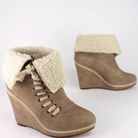 shearling trim lace-up bootie &amp;#36;22.00 in BLACK NATURAL - Booties | GoJane.com