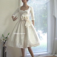 Marianne Vintage Inspired Wedding Dress with 3/4 by EllanaCouture