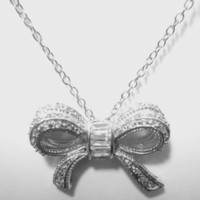 Sterling Silver .925 Bow Tie Ribbon Pendant Necklace *FREE SHIPPING*