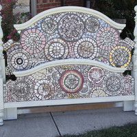 Mosaic Headboard and Footboard Full or by TheMosaicButterfly