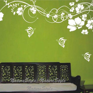 Beautiful Flower with ButterfliesVinyl Wall by NatureStyle on Etsy