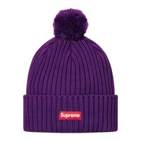 Supreme: Ribbed Beanie - Purple