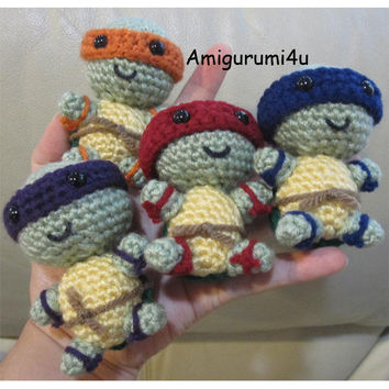 Teenage Mutant Ninja Turtles TMNT Handmade Amigurumi Crochet Doll Leonardo Donatello Raphael Michelangelo Weapons
