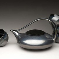 Heirloom Silver Classic Tea set: Judith Weber: Ceramic Teapot & Cups - Artful Home