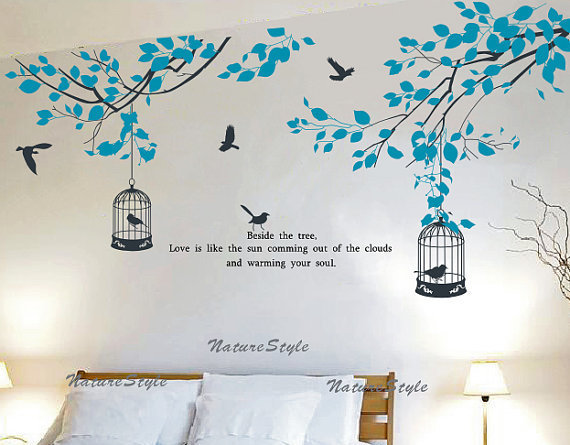 Branch with Flying Birds and birdscage Vinyl Wall by NatureStyle