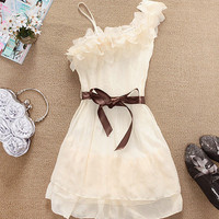 pleated chiffon dress cute bow decoration