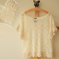 vintage lace shirt fresh hook lace blouse with short sleeves