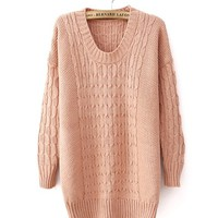 Pink Retro Thicken Knitted Sweater TBHTK1205 from clothingloves