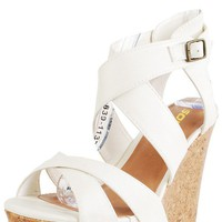 Effect Cross Strap Cork Wedge Heels OFF WHITE - Wedges - Shoes - Shop