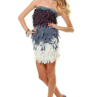 Grey Ombre Three Tone Feather Fringe Cocktail Dress - Unique Vintage - Cocktail, Evening  Pinup Dresses