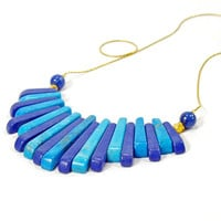 Turquoise Blue and Gold Egyptian Fan Statement Necklace