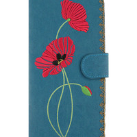 Red poppy vegan/faux leather large wallet with embroidery - 
