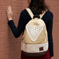 Beige Backpack With Lace on Luulla