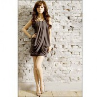 Strapless Gray Cotton + Chiffon Gathered Dress--Women's Dresses