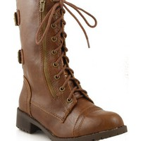 Soda Dome Lace Up Mid-Calf Boots TAN