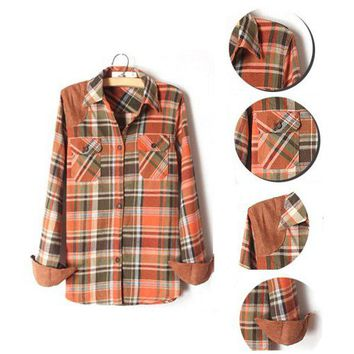 Women's Grid Long Sleeve Shirt for Autumn Winter Spring