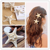 Natural Real Starfish Hair Barrette from LOOBACK FASHION STORE