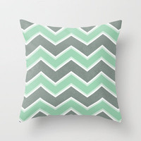 Gray Mint Chevron Throw Pillow by Dale Keys | Society6